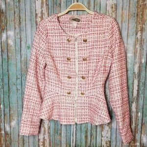 Tweed peplum zippered jacket